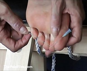 Extreme foot fetish and feet needle Sadism & Masochism of mature unexperienced gimp lady in harsh m