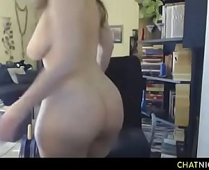 Horny MILF with big knockers and big ass masturbating on webcam