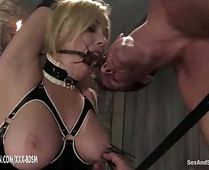 The man predominates on bondage blonde babe in latex